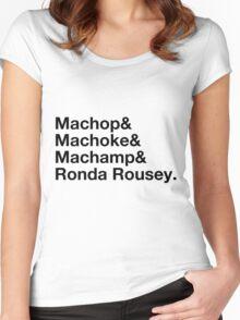 Stylish Pokemon T's | Machop & Machoke & Machamp & Ronda Rousey | Black on Light Women's Fitted Scoop T-Shirt