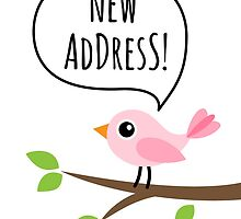 New address announcement cards with cute pink bird on a branch by MheaDesign