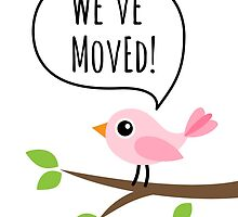 We've moved new address cards with cute pink bird by MheaDesign