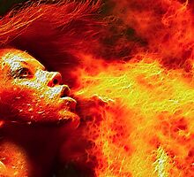 Fractal Fire Girl Design, Burning Girl, Flaming Woman, Hot Girl On Fire, Hot Women, Flame Girl by Christopher McCabe