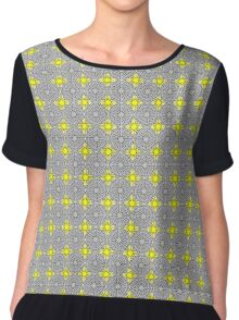 Yellow Suns and Gray Shells Chiffon Top