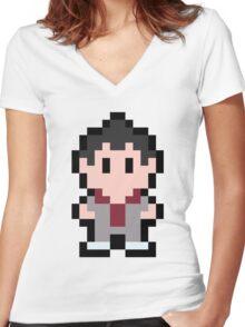 Pixel Kazuma Kiryu Women's Fitted V-Neck T-Shirt