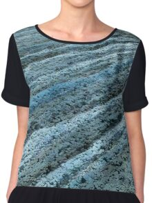 Furrows in the Blue Sand Chiffon Top