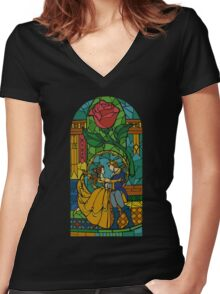 Beauty and The Beast - Stained Glass Women's Fitted V-Neck T-Shirt