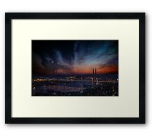 City with stars and nebula. Framed Print