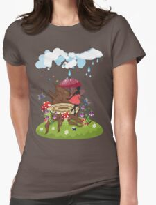 Tree Stump and Fairy Womens Fitted T-Shirt