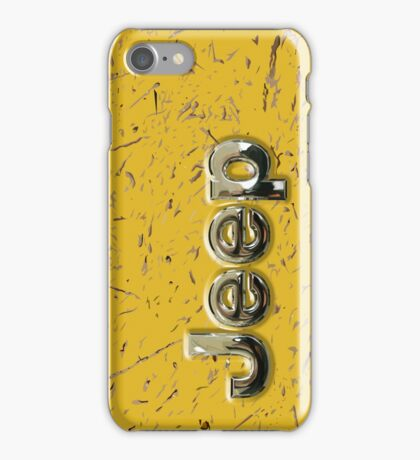 muddy yellow Jeep with chrome typograph iPhone Case/Skin