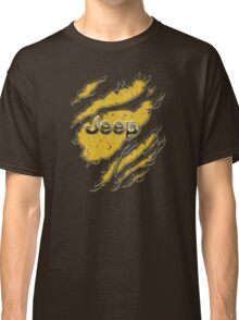 muddy yellow Jeep with chrome typograph Classic T-Shirt