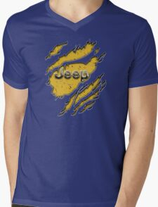 muddy yellow Jeep with chrome typograph Mens V-Neck T-Shirt