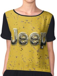 muddy yellow Jeep with chrome typograph Chiffon Top
