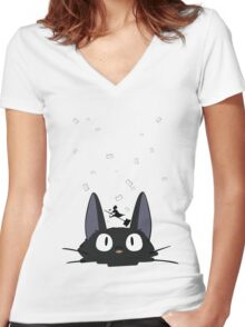 Kiki's Carrier Service Women's Fitted V-Neck T-Shirt