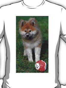 Akita Dog With Ball   T-Shirt