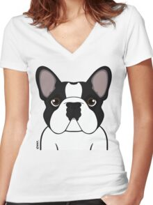 Frenchie - Brindle Pied Women's Fitted V-Neck T-Shirt