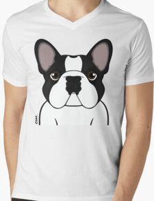 Frenchie - Brindle Pied Mens V-Neck T-Shirt