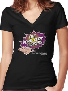 Pork Chop Express - Distressed Purple/Yellow Variant Women's Fitted V-Neck T-Shirt