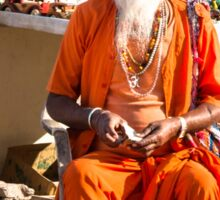 Indian old monk sadhu in saffron color clothing Sticker