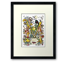 """The Illustrated Alphabet Capital  M  """"Getting personal"""" Framed Print"""