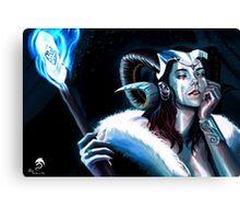 Blue Flame Demoness Canvas Print