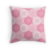 Pink Abstract Roses Print Throw Pillow
