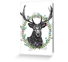 Hipster Stag peaking through a watercolour wreath Greeting Card