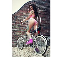Becky, Swimsuit and Chopper Bike Photographic Print
