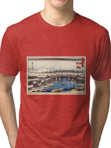 Nihonbashi Clearing After Snow - Hiroshige Ando - 1837 - woodcut Tri-blend T-Shirt