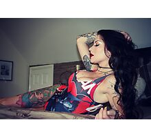 Inked Swimsuit Girl Photographic Print