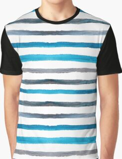 Azure blue and grey watercolor stripes Graphic T-Shirt