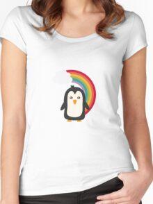 Rainbow Penguin   Women's Fitted Scoop T-Shirt