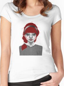 005 Red Hair & a Pretty Grey Bow Women's Fitted Scoop T-Shirt