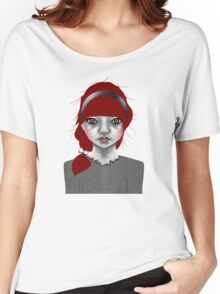 005 Red Hair & a Pretty Grey Bow Women's Relaxed Fit T-Shirt