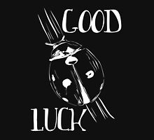 White Ladybug Good Luck Print Womens Fitted T-Shirt