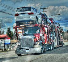 Red Big Rig Car Transporter  by Skye Ryan-Evans
