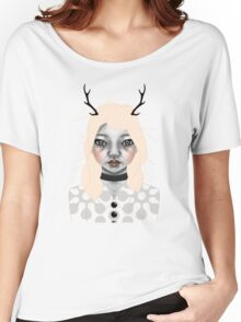 008 Golden Hair & Black Antlers Women's Relaxed Fit T-Shirt