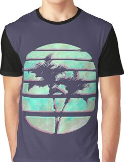 Vaporwave Palm Trees in the Sun - Blue Graphic T-Shirt