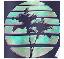 Vaporwave Palm Trees in the Sun - Blue Poster