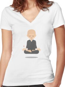 Floating Monk Women's Fitted V-Neck T-Shirt