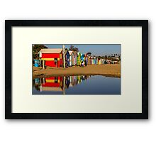 Brighton Beach Boxes with reflection Framed Print