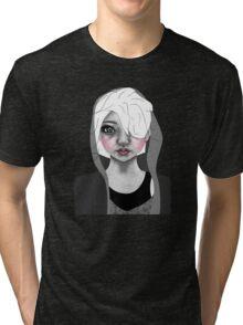 009 Platinum Hair & a Grey Hoodie Tri-blend T-Shirt