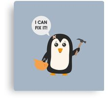 Construction worker Penguin   Canvas Print
