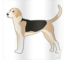 English Foxhound Basic Breed Silhouette Poster