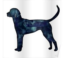 English Foxhound Black Watercolor Silhouette Poster