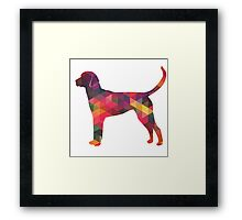 English Foxhound - Colorful Geometric Pattern Silhouette - Multi Framed Print