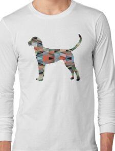 English Foxhound - Colorful Geometric Pattern Silhouette - Plaid Long Sleeve T-Shirt