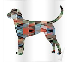 English Foxhound - Colorful Geometric Pattern Silhouette - Plaid Poster