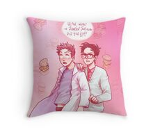cloudy with a chance of uh-oh Throw Pillow