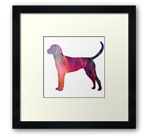 English Foxhound - Colorful Geometric Pattern Silhouette - Pink Framed Print