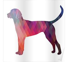 English Foxhound - Colorful Geometric Pattern Silhouette - Pink Poster
