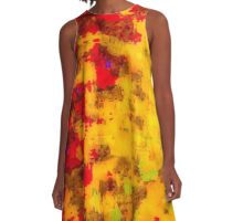 Pila Fashion Design - Yellow & Red - Abstract A-Line Dress