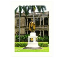 King Kamahameha Statue, at Hawaii Supreme Court Building, Honolulu, Hawaii  Art Print